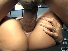 Skinny asian slut Asia De Ville got her tight butthole stuffed with a big cock. He shows no mercy and fucks her like crazy with his massive meat!