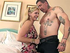 Absolutely crazy about hardcore fuck tattooed man has wild fuck with Phyllisha Anne. The blondie is feeling his big throbbing cock entering her mouth and vagina.