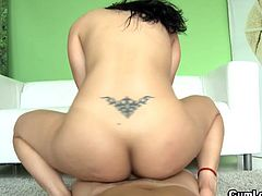 Adorable brunette babe Samantha Pink likes having her tight pussy nailed properly