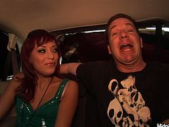 After a long lasting fuck in hotel room, spoiled red-haired chic in steamy emerald green dress heads to the car with a kinky daddy who promised to take her home.