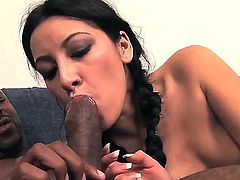 Turned on black haired young Monica Austin with natural boobies and slim body takes on black sausage and gets her shaved cunny pounded balls deep from behind in living room.