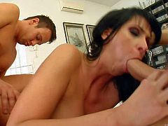 Lisa Sparkle is s curvy nasty brunette with big booty. She spends time fucking with two fat dicked guys. They drill her mouth and her butt before double penetration. Lisa Sparkle cant get enough.
