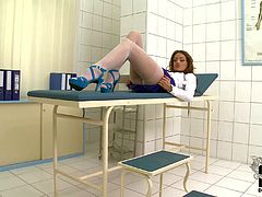 Sophie Lynx is a mouth-watering long legged lady doctor in white nylon pantyhose and blue shoes. She shows off her perfect ultra long legs and bares her small boobies in a playful manner.