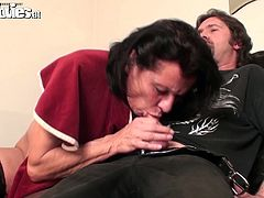 This woman with ugly wrinkled face and big droopy ass is surely mad about sex. Spoiled bitch in black stockings desires to be fed with sperm. So disgusting fatso bows above the dude's cock and gives a solid blowjob for sperm right away.