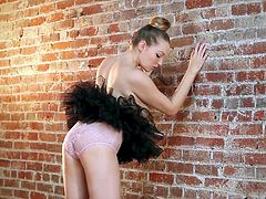 Hot blondie Sara Liz is having a photo session indoors. She poses for the cam in a fluffy mini skirt and then takes it off and demonstrates her awesome butt.