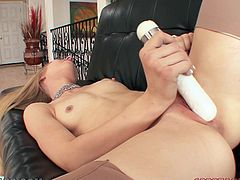 A gorgeous blonde slut sucks on this fucking dude's hard dick and fucking gets a hefty load of cum blasted onto her face! Check it out!