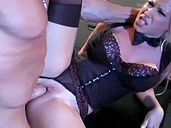 Watch a busty and wild blonde secretary wearing black stockings while getting her feet licked. Then she's ready to give her boss a hot blowjob before he bangs her clam into a breathtaking explosion of pleasure. Finally, her mouth gets filled with fresh cum.
