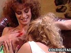 Watch the perverse vintage lesbians Busty Belle and Debi Diamond munching and rubbing their clams into a breathtaking orgasm,