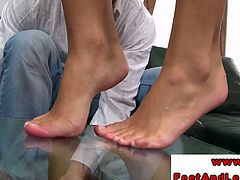Sexy brunette teen Victoria Blaze gets her feet worshiped, Check out how she uses her skills of footjob, The cock starts it's journey from bottom to the top. She also striped and showed her juicy tight pussy.Don't miss it!