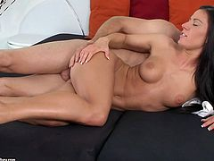 Tonight appetizing brunette cutie goes wild. Zealous chick with nice tits is mad about anal fuck. She wanna get not only her wet pussy but also tight asshole polished properly. Just have a look at slender nympho in 21 Sextury xxx clip and gain your portion of pleasure.