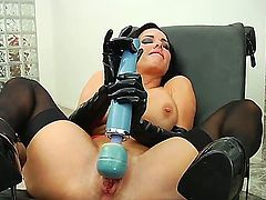 Black haired bombshell Veronica Avluv with big tits and round juicy ass in high heels and kinky latex gloves polishes her bloomed pink minge with Hitachi vibrator in wet fantasy.