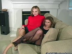Sweet lesbians are posing in their sexy pantyhose during impressive masturbation scene