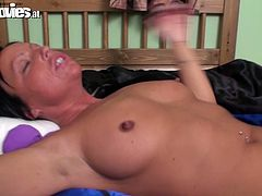Hefty slut with big boobs is lying flat on her back. She gets her wet shaved clam eaten dry so she quivers with pleasure.