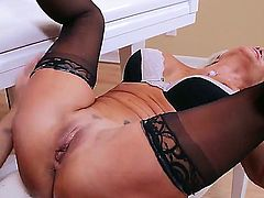 Mature smoking hot blonde cougar Tara Holiday with firm hooters and slim sexy body in lingerie and high heels seduces handsome randy dude Kurt Lockwood and gets nailed by piano.