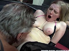 Red Light Sex Trips XXX clip provides you with a really spoiled grey haired man. Already naked man is in the brothel with slim pale blond slut. This bitch with droopy boobs stretches her legs in stockings wide to get her fancy tickled and rubbed.