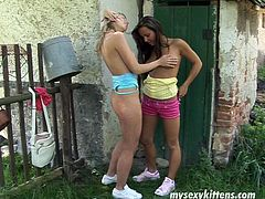Well, two gals live in the village. These kinky chicks with natural tits have no other hobby than polishing each other's wet pussies with sex toys right on the green grass. Dirty black and blond haired lesbos know for sure how to reach multiple orgasm in a flash.