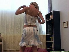 Blonde teenie Suzie Carina is having fun with her favorite toy. She spreads legs and sticks her fingers then reaches full orgasm with her vibrator!