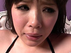 Juggy Japanese babe in fishnet lingerie will amaze you with her cuddly tasty looking body. She oral strokes her own big tits while riding a horny BF in cowgirl style with her hairy pussy in pov sex scene by Jav HD.
