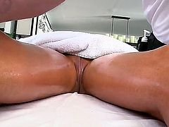 Smoking hot blonde pornstar Tasha Rign with nice hooters and french manicure gets massaged good by tall handsome stud and takes on his long meaty cock in point of view.