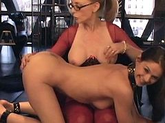 Brunette lesbian gets her trimmed pussy stimulated