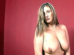 Amateur brunette Jenny Badeau with wedding ring on hand gets naked at her first interview interview and plays with her huge jaw dropping natural knockers in point of view.