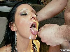And that is what we used to call a gangbang! She is so hungry that even three men had to sweat a lot to make her stun!