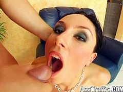Adorable brunette likes screaming of pleasure with a huge dick in her tight ass