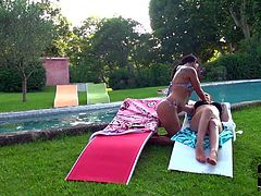 Turned on dark haired milfs Sheila Grant and Lataya Roxx wtih big juicy asses get naked while making out in backyard and play with each others huge jaw dropping natural knockers