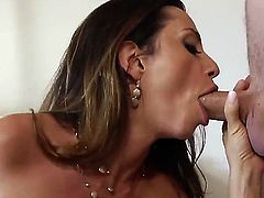 Woman with great boobs and butt Ariella Ferrera and Danny Wylde are going to have nice banging! The chick gives cool blowjob and titjob before riding up fat rod.