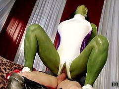 Thor loves fucking a horny female hulk slut! Watch as this green babe with big tits rides a hard dong and moans like crazy.