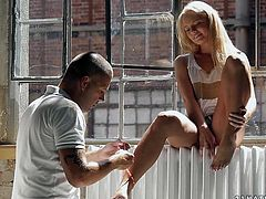 Mesmerizing blond babe strips in front of a horny dude wearing white lingerie before he approaches her to suck her pedicured feet in steamy sex clip by 21 Sextury.