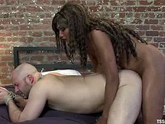 Ebony tranny and the guy suck each others dicks. Then the guy gets fucked in his tight ass. Later on he gives a rimjob to this shemale babe.