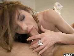 Watch the lovely brunette nurse Alice Romain giving her man a hell of a blowjob before he pounds her shaved slit into heaven. She looks hot in those white stockings!