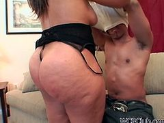 Wondrous hot and booty mulatto strips passionately to demonstrate her awesome smooth and big ass. Wonderful gal with sweet boobs is a great pro in giving a solid blowjob for sperm. Don't you capeesh? Then check out this nympho in WCP Club sex clip to jerk off and jizz at once.