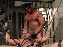 Get a load of this hot gay bondage video where these guys have fun with torturing each other and fucking one another's brains out.