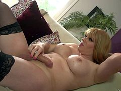 Tall blonde shemale Jesse Flores with big firm hooters in stockings only gets her stiff cock sucked good by bald handsome stud Christian XXX and returns him favor in close up