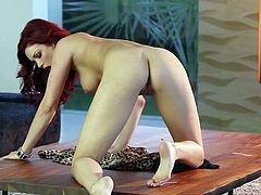 Beautiful redhead Jayden Cole in barely there dress shows off her sexy perky ass as she finger fucks her neat pussy in the middle of the room. Watch eye-popping redhead masturbate!
