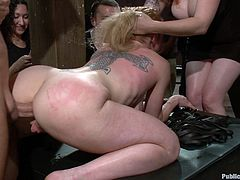 Tattooed strumpet in extreme bondage group sex!