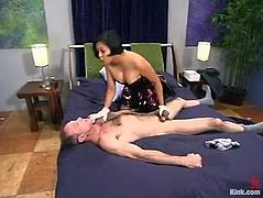 This dude named Billy Budd gives himself to Mika Tan. She ties him up and slaps his ass till it turns red. But that is not the worst thing in this BDSM scene!