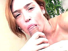 Hardcore cock sucking scene. Staring Jodi Taylor and Johnny Fender. Beautiful Red head Jodi is filling her face with this mans big hard cock. Watch as she takes it all the way down to his tight nut sack and back up again.