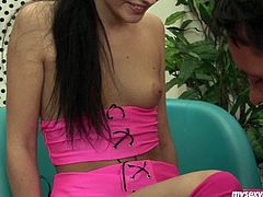 Nataly is trashy looking brunette chick. She is wearing sassy pink outfit and nylon stockings. Thirsty dude seduces Nataly for sex. She is surely up for any kinky stuff coz she is craving of hard stick drilling her pussy. The guy strips her impatiently. He opens her legs burring his face in the cave. Then he thrusts his dick in her mouth so she sucks him deepthroat.