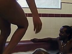 SEXY BLACK SLUT GETS BBC BEATDOWN IN THE BATH ROOM
