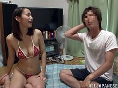 This kinky Japanese babe is a drama actress! Kaede Niiyama is her name. So she as chatting with her partner int he changing room and suddenly his dick appeared to be in her twat!