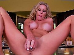 Glamour blonde with huge boobs Ainsley Addison got on kitchen counter totally nude and naughtily stuffing her tight twat with banana.