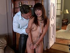 Insatiable white dude fingers tight asshole of submissive Japanese MILF