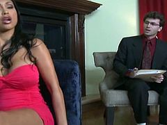 Voluptuous mommy Priya Anjali Rai looks sizzling hot in her tight red dress. She lies on the couch talking with her therapist and flaunts her eye catching thick legs...