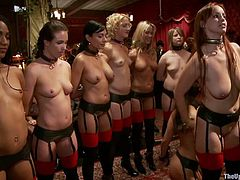On the first order of the day the bitches are lined up and instructed, about what they will have to do. Like good obedient whores they listen and then get to work. Everyone at this party has his own kinky desires, so these cuties are about to have a hard day of work. Stick with us and enjoy the show!