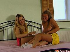 Nasty teen with curvy bodies and big natural tits striptease on a bed before having passionate teen lesbian sex. Hot Seventeen Video presented free on anysex.