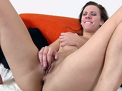 Check out the gorgeous natural tits on this fucking bitch and watch as she masturbates her pink pussy for the camera and gets off!