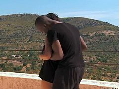 Ebony couple demonstrate a good fuck outdoors. She takes his black schlong in various positions and enjoys every second of the action!